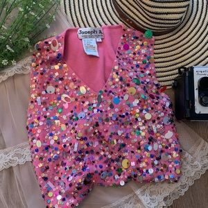 VTG Joseph A. Designer Silk Sequin Pink Top Sz M